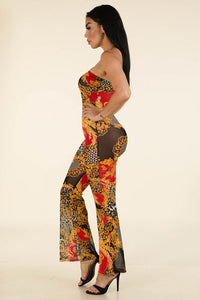 Dark Printed Mesh Tube Jumpsuit