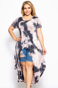 Tie Dye Crew Neck Line Short Sleeves Casual High Low Top