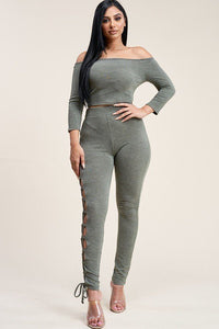 Solid French Terry Off The Shoulder 3/4 Sleeve Top And Legging Two Piece Set
