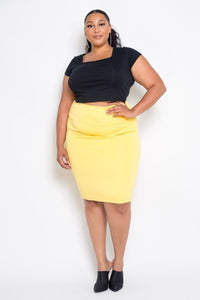 Plus Size Yellow Basic High Waist Pencil Midi Skirt