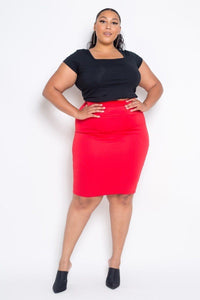 Plus Size Red Basic High Waist Pencil Midi Skirt