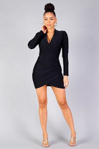 Puff Sleeve Crossover Front Wrap Skirt Dress