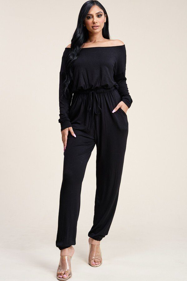 Black Spandex Slouchy Jumpsuit With Pockets