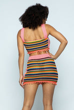 Multi Color Crochet Open Back Top/mini Pencil Skirt 2 Piece Set