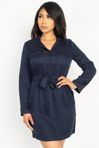 Black Belted Shirts Dress