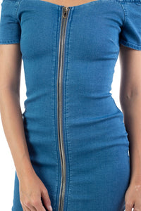 Off Shoulder Zip-front Light Denim Dress