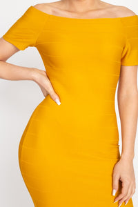 Yellow Off The Shoulder Bandage Dress