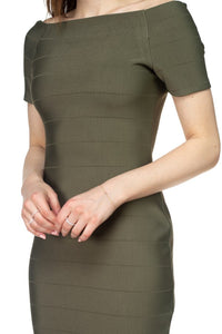 Olive Off The Shoulder Bandage Dress