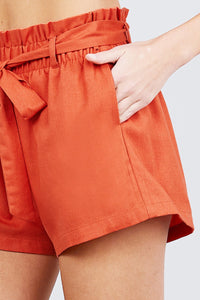 Bow Tie  Linen Shorts