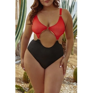 Red Plus Size One-piece Swimsuit
