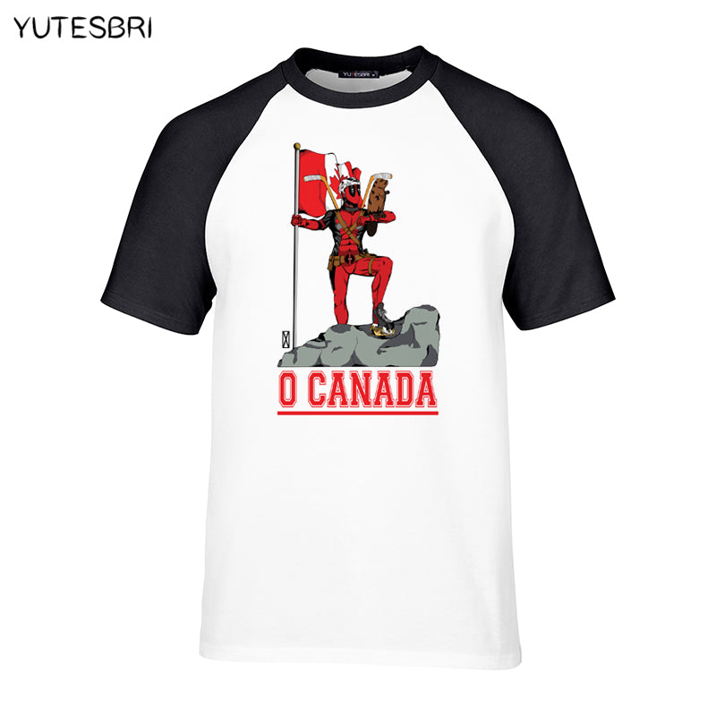 Trendy Men's O Canada T-shirt inspired by Deadpool