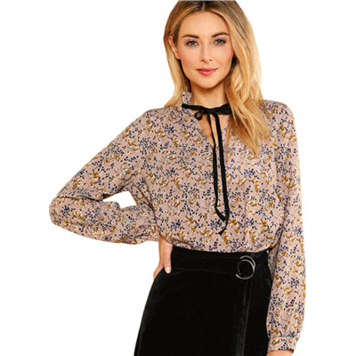Trendy Floral Long Sleeve Regular Fit Blouse