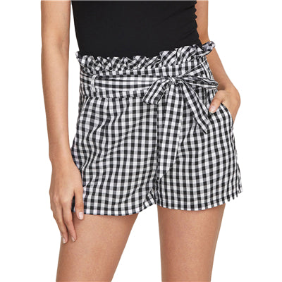 Trendy Belted Gingham Shorts