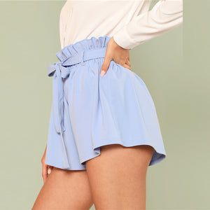 Trendy Women's Belted Ruffle Shorts