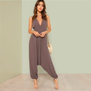 Trendy Women's Drawstring Cami Jumpsuit