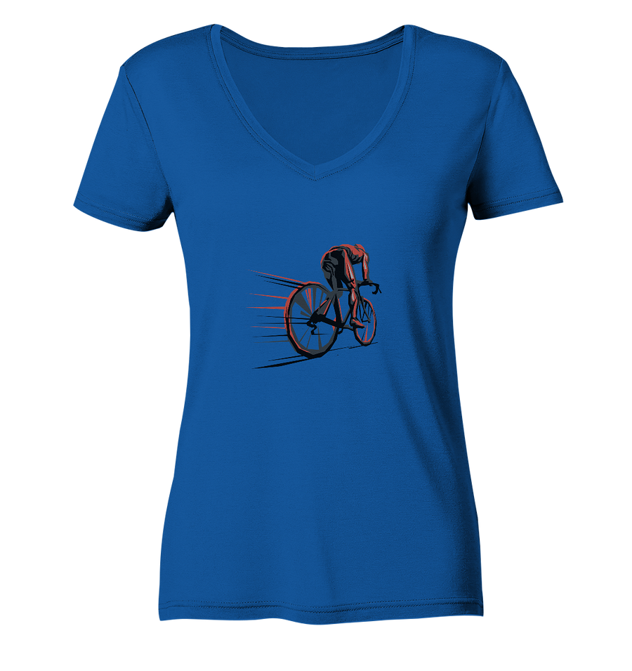 Cyclomaniac - Ladies Organic V-Neck Shirt