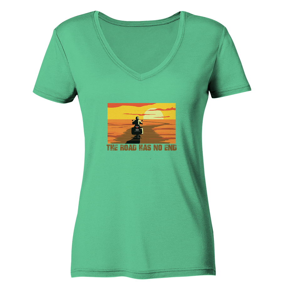 The Road has no End - Ladies Organic V-Neck Shirt
