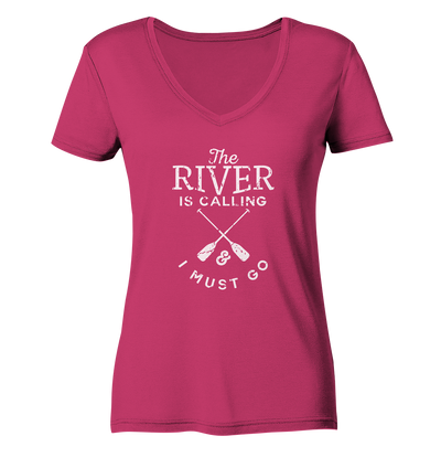 The River is Calling - Ladies Organic V-Neck Shirt