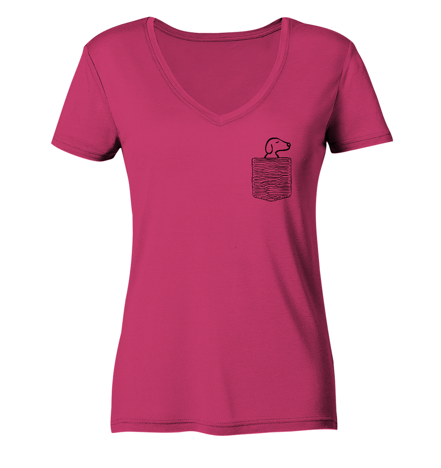Hund in meiner Brusttasche - Ladies Organic V-Neck Shirt