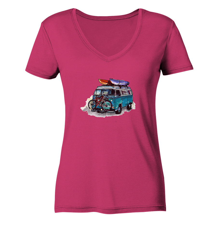 Vanlife - Bike & Kayak - Ladies Organic V-Neck Shirt