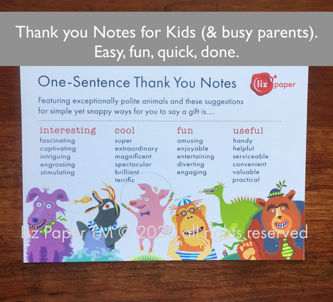 Kids' 1-Sentence Thank you Notes