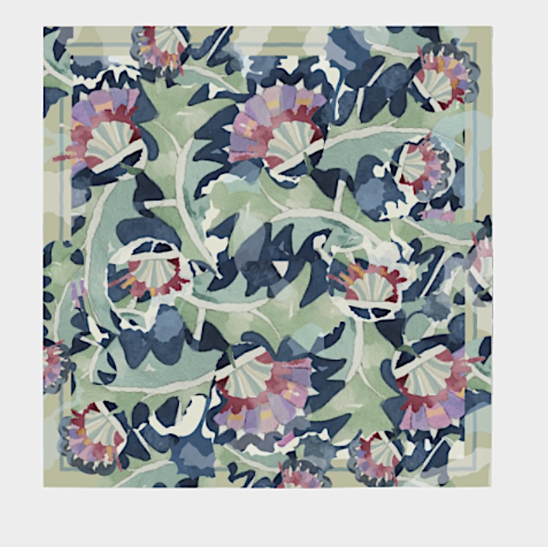 Silk Scarf, Thistle