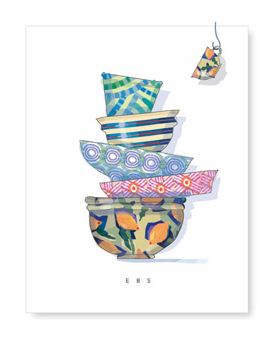 Personalized Folded Note with colorful stacked bowls