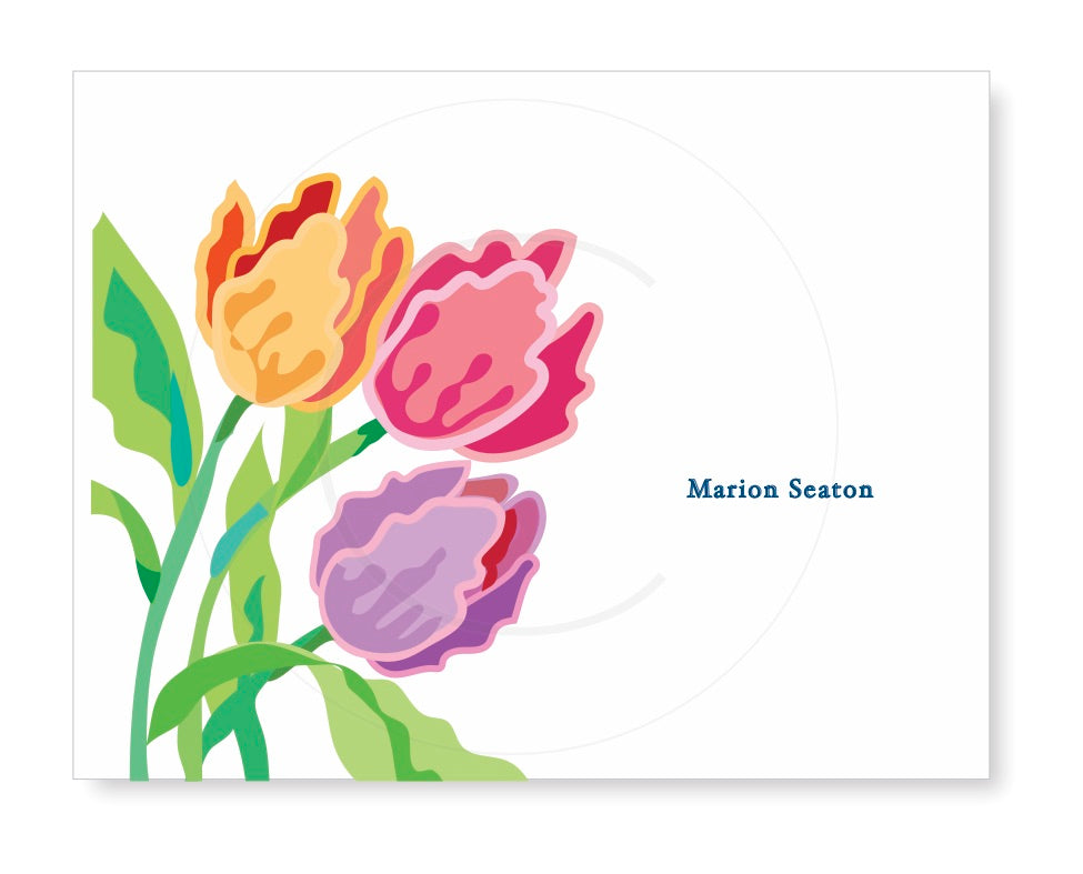Personalized Folded Note with colorful tulips