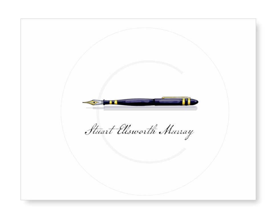 Personalized Folded Note with fountain pen