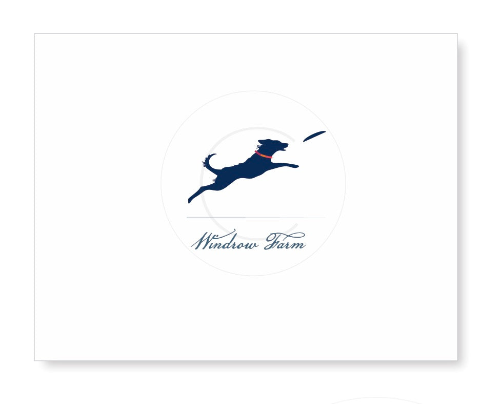 Personalized Folded Note with leaping dog and frisbee
