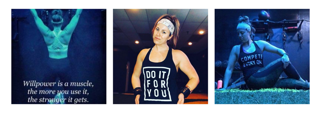Three photos: Woman working on exercise machine, woman smiling, woman doing sgtreches