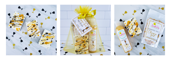 Photo of champagne toast soap with gold & black design, gift set in gold organza bag, photo of bubble bath, bath salts & soap with drink charm.