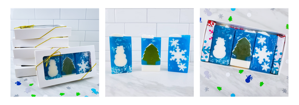 3pc soap gift set: snowman, snowflake, snowy spruce in a white gift box