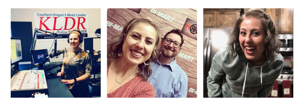 Three photos: woman in recording studio, man and woman smiling, woman smiling