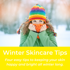 Winter Skincare Tips: four easy tips to keep your skin happy and bright all winter long. Woman in knitted hat and scarf in the snow