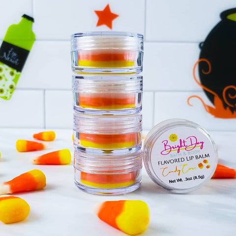 Candy corn lip balms stacked