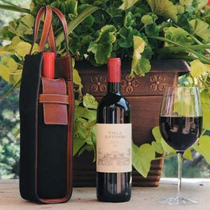Leather Wine Case -Our canvas leather wine carriers are handmade in Italy by Borlino