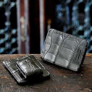 Leather Money Clip Wallet in Alligator leather by Borlino