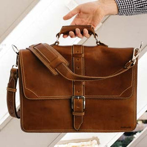 Leather Classic Briefcase Tan - Our Classic briefcase style show here in Terra Tan by Borlino