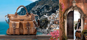 Leather Duffel Bags for Women - Our leather duffel bags are handmade in Italy. Shown here in tan buffalo leather made by Borlino.