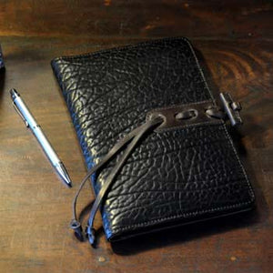 Leather Padfolio in Buffalo Black Italian Leather by Borlino Italy