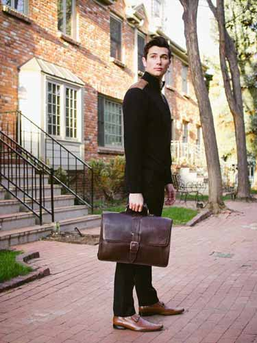 Leather Briefcase Brown - Classic Style handmade in Italy by Borlino