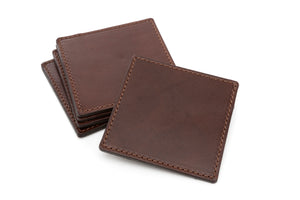 Italian Leather Drink Coasters - Walnut