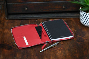 Modern Engraved Padfolio with Notepad and Tablet Phone Sleeve