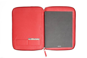 Customized Debossed Sleek Zippered Italian Padfolios
