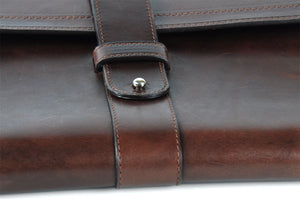 Italian Leather Post-Strap Brief Folio - Walnut