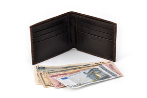 Customized Debossed Slim Italian Bi Fold Wallet