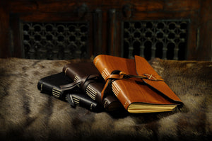 Italian Leather Handmade Large Journal - Walnut