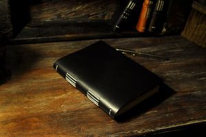 Black Leather Journal Hand stitched - Handmade in Italy by Borlino