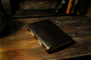 Italian Leather Hand-Stitched Large Journal - Walnut